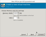 Setting the amount of memory and CPUs allocated