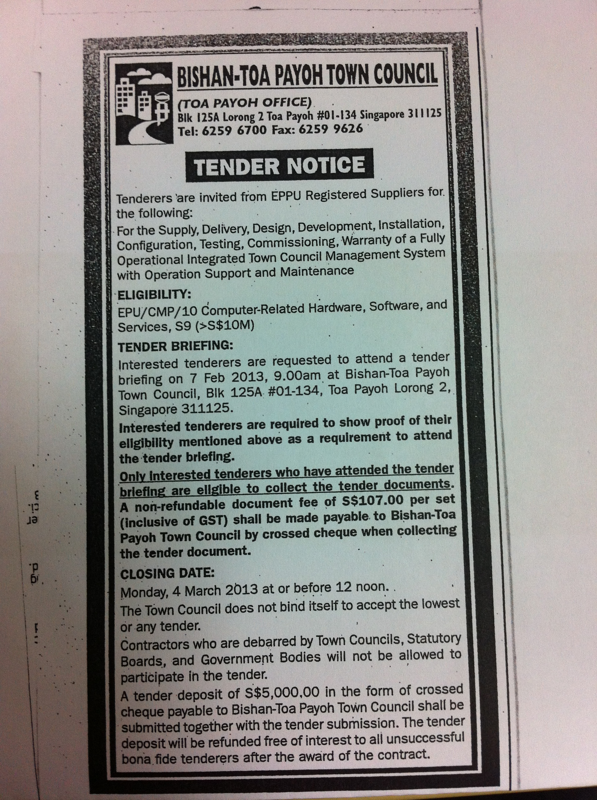 Tender for Town Council Management System – updates – life